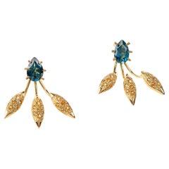 Maria Kotsoni Contemporary 18K Gold Blue Topaz & Citrine Spike Ear Jackets