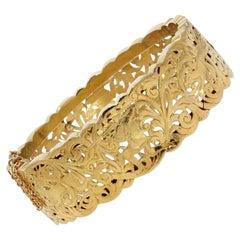 French 20th Century 18 Karat Yellow Gold Drilled Bangle Bracelet
