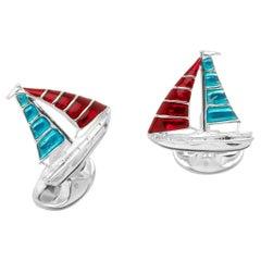 Deakin & Francis Sterling Silver Enamel Yacht Cufflinks in Red and Blue