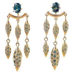 Maria Kotsoni, Contemporary 18K Gold & Blue Topaz Long Chandelier Ear Jackets
