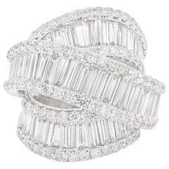 Diamond Cocktail Ring 7.01 Carats 18K White Gold