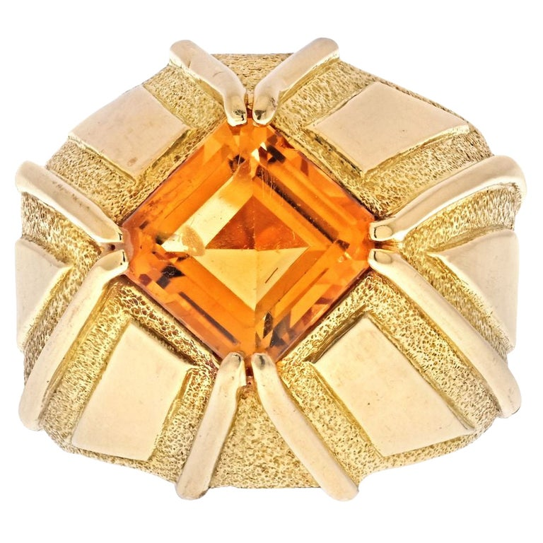 Tiffany & Co. Schlumberger 18K Yellow Gold Vintage Citrine Ring For Sale