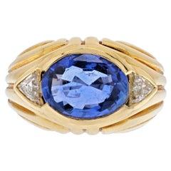 Bvlgari 18K Yellow Gold Blue Sapphire Oval Cut Vintage Ring