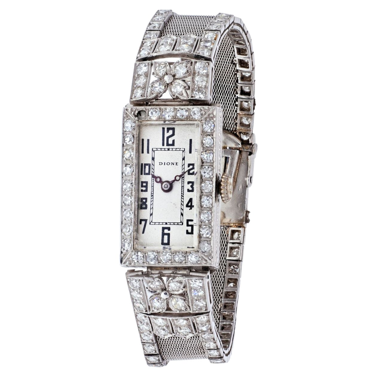 Platinum Art Deco Mesh Style Vintage Diamond Rectangular Watch