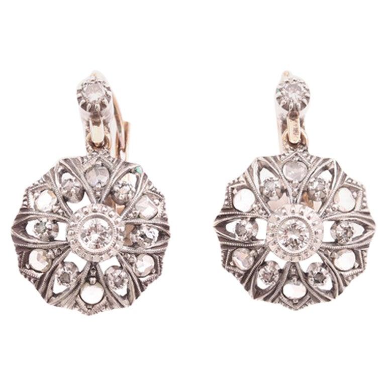 Antique Diamonds Gold Victorian Revival Portuguese Cocktail Earrings For Sale