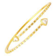 Handcrafted 22K Gold Cubic Flexiable Bracelet with Rose & Brilliant Cut Diamonds