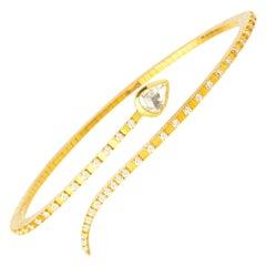 Handcrafted 22K Gold Stylized Snake Bracelet with Diamonds