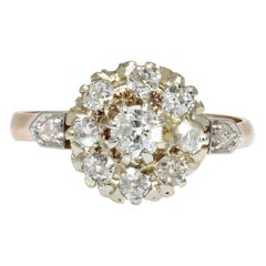 19th Century Diamonds 18 Karat Yellow Gold Engagement Daisy Ring
