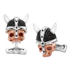 Deakin & Francis Sterling Silver Rose Gold Black Spinel Viking Skull Cufflinks
