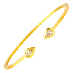 Handcrafted 22K Gold Cubic Flexible Bracelet with GIA Certified Diamonds
