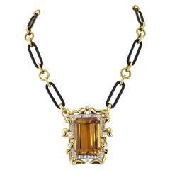 David Webb Large Topaz and Diamond Pendant on a Black Enamel Link Necklace