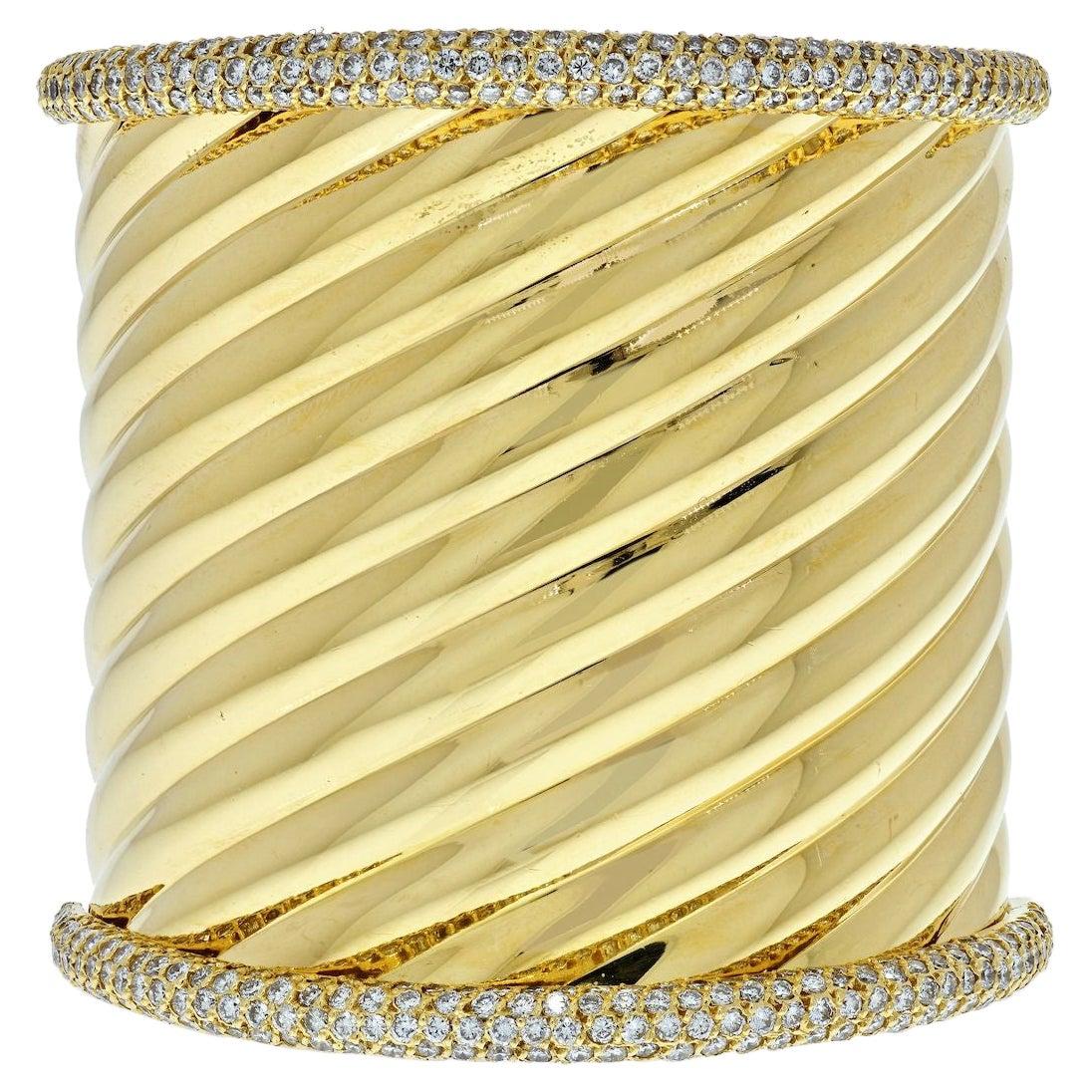 18K Yellow Gold Impressive Significant Rigid Gold Diamond Cuff Bangle Bracelet