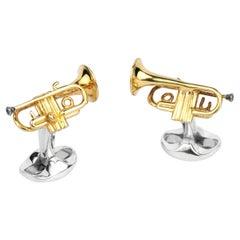 Deakin & Francis Sterling Silver Trumpet Cufflinks