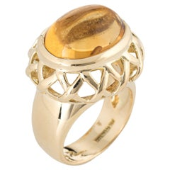 Tiffany & Co Paloma Picasso Citrine Ring Vintage 18k Yellow Gold Fine