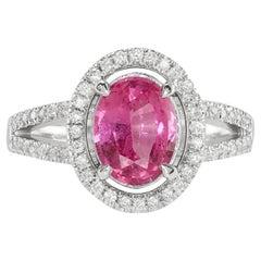Pink Sapphire Diamond Ring 14K White Gold