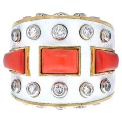 David Webb 18K Yellow Gold Bastille White Enamel Diamond and Coral Ring