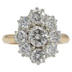 19th Century Style Diamond 18 Karat Yellow Gold Pompadour Ring