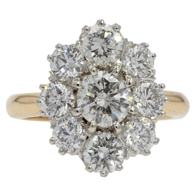 19th Century Style Diamond 18 Karat Yellow Gold Pompadour Ring For Sale