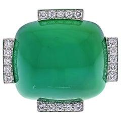 David Webb Platinum & 18K Yellow Gold Large Green Onyx and Diamond Ring