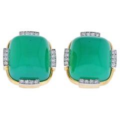 David Webb Platinum & 18K Yellow Gold Green Onyx Cabochon Earrings