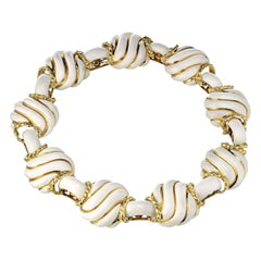 David Webb 18K Yellow Gold Collapsible White Enamel Choker Necklace