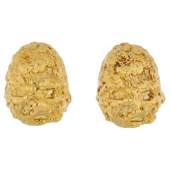 David Webb 18K Yellow Gold Dome Nugget Clip on Earrings
