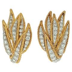 David Webb Platinum & 18K Yellow Gold 3.00 Carats Diamond Leaf Earrings