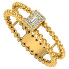 Beaded Diamond 18 Karat Gold Ring