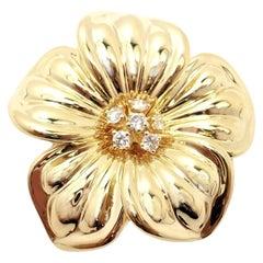Van Cleef & Arpels Diamond Magnolia Flower Yellow Gold Pin Brooch
