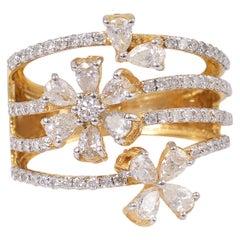 1.45 Carat 14 Karat Gold Floral Diamond Ring