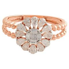 Floral Diamond 18 Karat Gold Beaded Ring