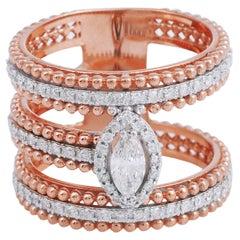 Marquise Diamond 18 Karat Gold Double Band Beaded Ring