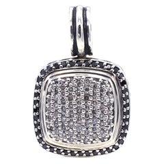 David Yurman Albion Sterling Silver Black & White Pave Diamond Pendant Enhancer