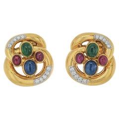 David Webb 18K Yellow Gold Multi Color Gemstone and Diamond Earrings