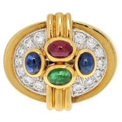 David Webb 18K Yellow Gold Multi Color Gemstone and Diamond Ring