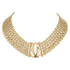 Cartier Yellow Gold Double C Three Row Wide Link Penelope Necklace
