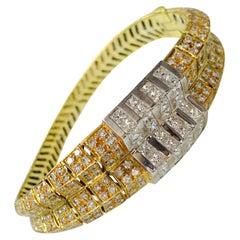 10.25 Carat White Diamond Bangle in 18 Karat White Gold