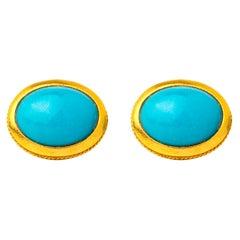 Handcrafted 22K Gold Arizona Turquoise Cufflinks