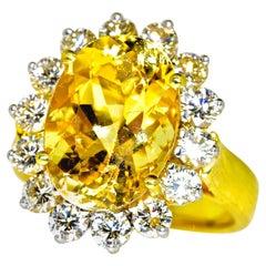Diamond and Yellow Sapphire Hand-Made Fine 18K Ring