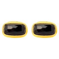 Handcrafted 22K Gold Onyx Cufflinks