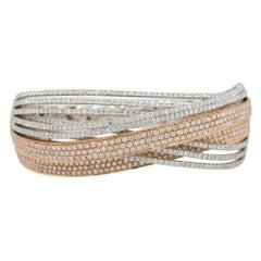 7.06 Carat Diamond Pave Crossover Bangle Bracelet 18 Karat in Stock