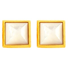 Handcrafted 22K Gold Sugarloaf Mother of Pearl Cufflinks
