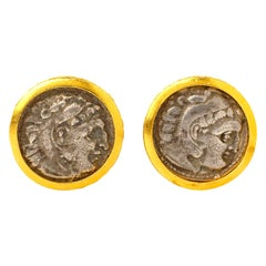 Handcrafted 22K Gold Ancient Hellenistic Alexander the Great Coin Cufflinks