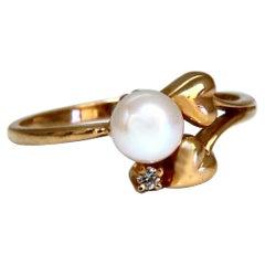 South Seas Pearl Diamond Ring 14kt Petite