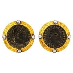 Handcrafted 22K Gold Ancient Byzantine Coin Embeded & Hand-Chiseled Cufflinks