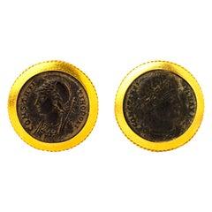 Handcrafted 22K Gold Byzantine Era Bronze Coin Cufflinks