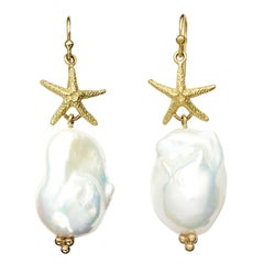Susan Lister Locke Baroque Pearls with 18kt Gold Starfish Drop Earrings