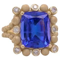 5.50 Carat Tanzanite & Diamond Custom Ring 14K Yellow Gold 5.5ct Original Design