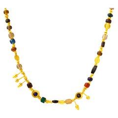 Handmade 24K Golden Trojan Inspired Genuine Roman Glass Bead Necklace