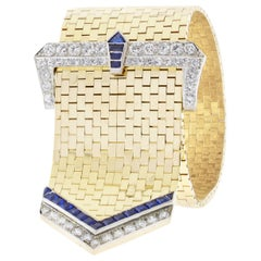 Retro-Modern Brick Link Sapphire and Diamond Buckle Bracelet